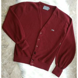 VINTAGE LE TIGRE Button-Up Cardigan Red Burgundy M